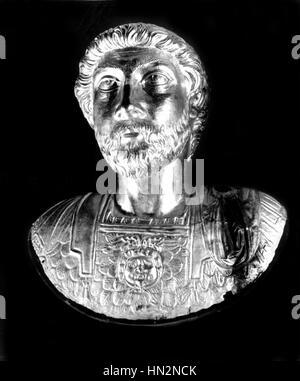 Bust of Marcus Aurelius (121-180). Roman emperor and philosopher ancient Rome Paris - musee du Louvre - Stock Photo