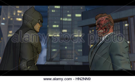 A screenshot from a Batman game on PS4 - Stock Photo