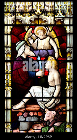 Faversham, Kent, England. St Mary of Charity parish church. Stained glass window: Angel stops Abraham from sacrificing - Stock Photo