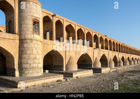 Si-o-Seh Pol, also called the Bridge of 33 Arches, Isfahan, Iran - Stock Photo