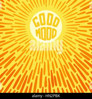Good Mood. Positive poster with radially grunge sunbeams. Vector illustration - Stock Photo