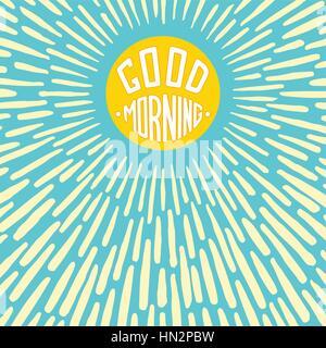 Good Morning lettering poster. Conceptual handwritten label with radially grunge sunburst. Vector illustration - Stock Photo