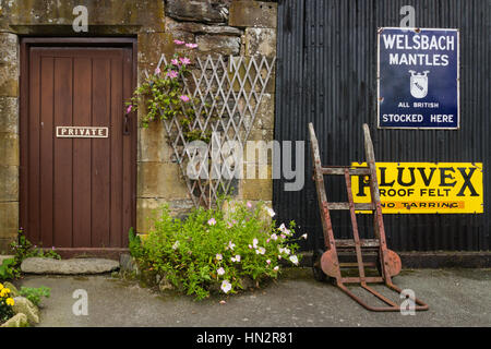 Carrog, Wales, UK - July 2012: Station Masters Office at Carrog Station and Vintage Signs part of the Llangollen - Stock Photo