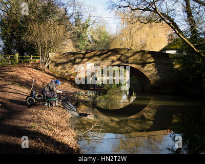Fisherman on the Basingstoke Canal - Stock Photo
