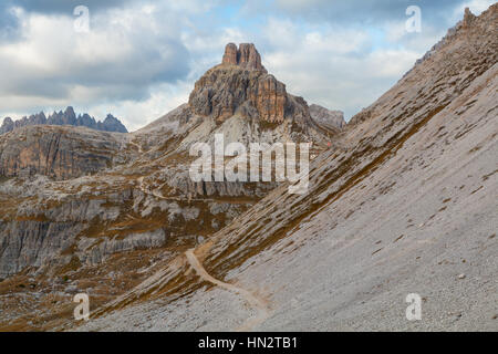 Beautiful mountains and mountain peaks of the Dolomites in Italy. National Park Tre Cime di Lavaredo - Stock Photo