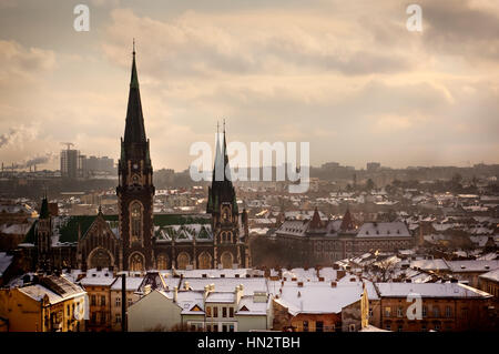 Panoramic view on the roofs in old european city, Lviv, Ukraine - Stock Photo