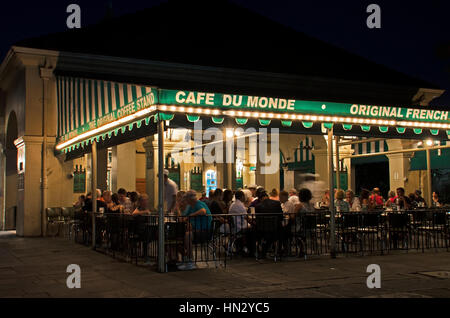 New Orleans, USA - July 13, 2015: Famous Cafe Du Monde in New Orleans that sells popular pastry beignets. - Stock Photo