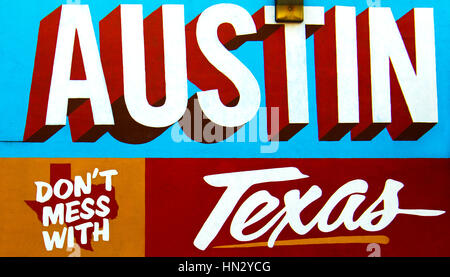 Austin, Texas - July 19, 2015: Dont Mess With Texas mural on the Wall depicted in Austin, Texas, USA. - Stock Photo