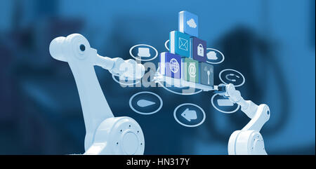 Robotic hands holding computer icons over blue background against empty work station - Stock Photo