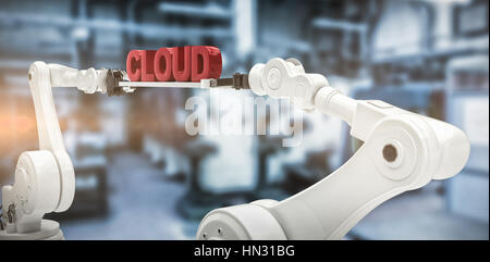 Robotic hands holding red cloud text against white background against factory - Stock Photo