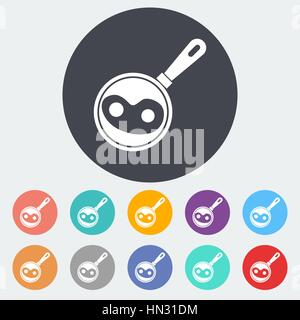 Scrambled eggs. Single flat icon on the circle. Vector illustration. - Stock Photo