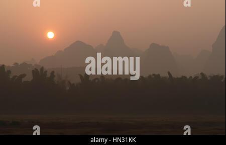 China - Guangxi Province - mountains along Lijiang River (Li-river) near Yangshuo - Stock Photo