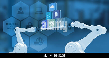obotic hands holding computer icons on blue background against interior of garage - Stock Photo