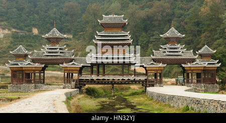 Zhaoxing - gorgeous Dong village is packed whit traditional wooden structures, several wind-and-rain bridges and - Stock Photo