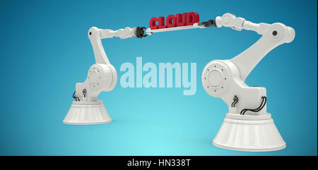 Mechanical robotic hands holding cloud text against white background against blue vignette background - Stock Photo