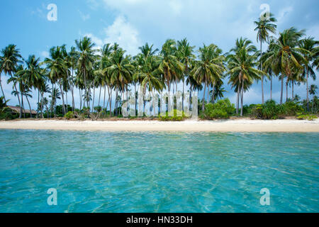 Tropical beach and coconut palms in Koh Samui, Thailand - Stock Photo