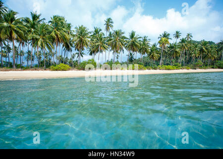 Tropical beach and coconut palms in Koh Samui, Thailand, Asia - Stock Photo