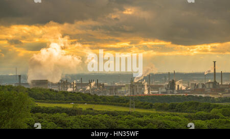 Industrial Redcar seen from inland at sunset. - Stock Photo