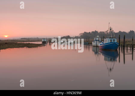 High tide at sunrise at Thornham Creek. - Stock Photo