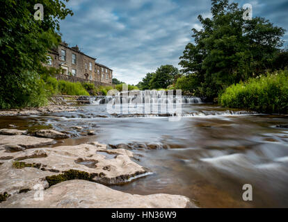 Waterfall at Gayle Mill. - Stock Photo