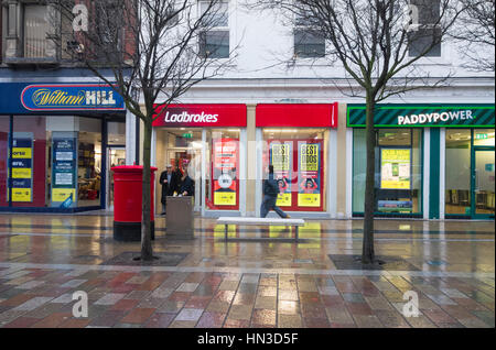 William Hil, Ladbrokes and Paddy power Betting shops in Middlesbrough town centre, England. UK - Stock Photo