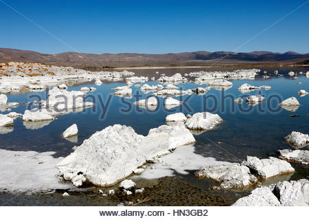 Icebergs floating on Mono Lake in California, USA. - Stock Photo