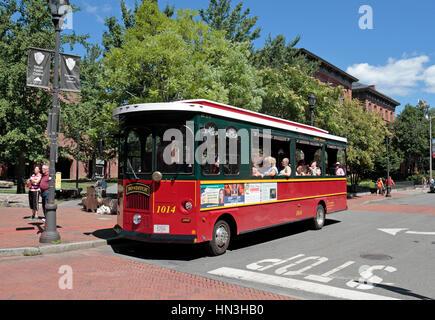 The Salem Trolley tourist trolley bus in Salem, Massachusetts, United States. - Stock Photo