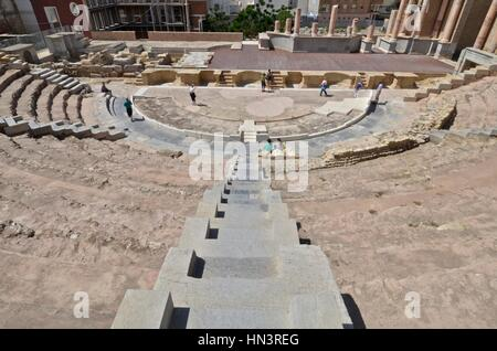Roman theatre of Carthage in Cartagena, Spain. - Stock Photo