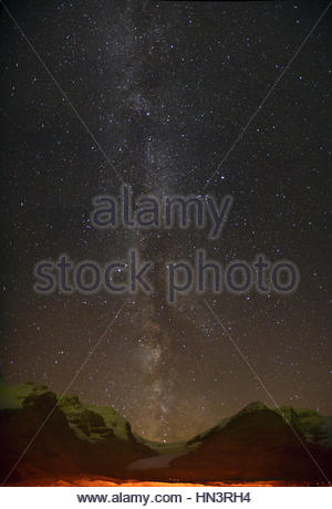 Milky Way over Athabasca Glacier In Columbia Icefield. - Stock Photo