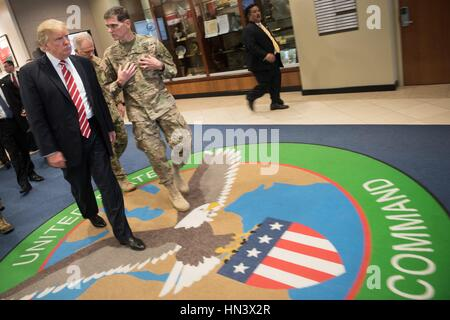U.S President Donald Trump is briefed by U.S. Army Gen. Joseph Votel during a visit to U.S. Central Command at MacDill - Stock Photo