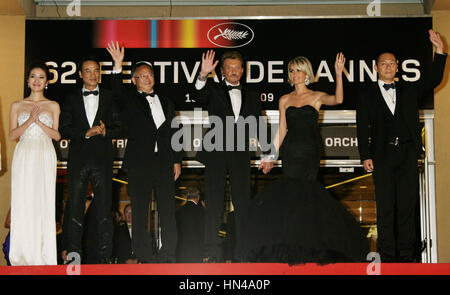 Johnny Hallyday and Laetitia Hallyday at the premiere for the film, 'Vengence' at the 62nd Cannes Film Festival - Stock Photo