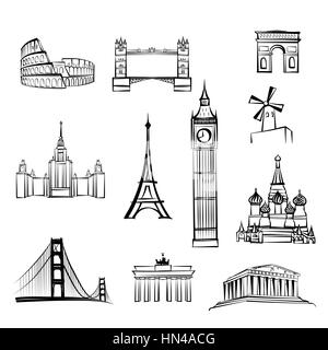 world tourist attractions symbols World famous city landmarks Travel icon set Doodle engraved sightseeings of London, - Stock Photo
