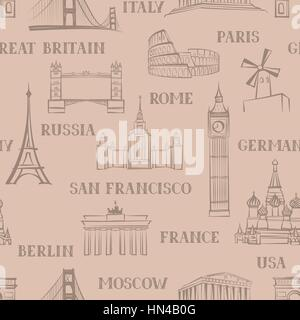 Travel seamless pattern. Vacation in Europe wallpaper. Travel to visit famous places of the world background. Landmark - Stock Photo
