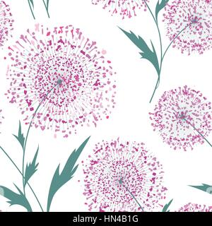 Flower bouquet seamless pattern. Floral frame. Summer flourish ornamental texture. Blooming flowers isolated on - Stock Photo