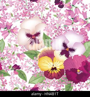 Floral seamless pattern. Summer flower background. Flourish texture with pansy flowers, bluebells and lilacs. - Stock Photo
