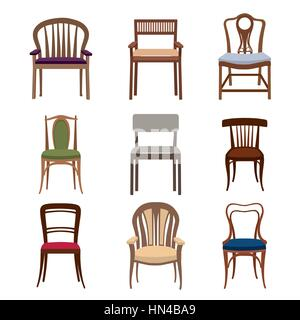 Chairs and armchairs icons set. Furniture collection of different chairs in flat style. - Stock Photo
