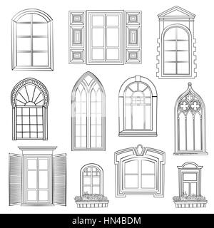Window set. Different architectural style of windows doodle sketch stylish collection - Stock Photo