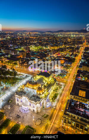 View of Mexico City from Torre LatinoAmericana. Mexico City is the densely populated, high-altitude capital of Mexico. - Stock Photo