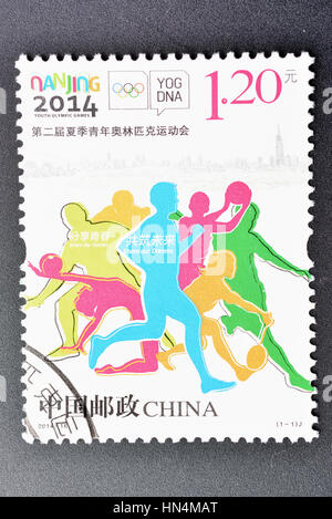 CHINA - CIRCA 2014: A stamp printed in China shows 2014-16 Youth Olympic Games. circa 2014. - Stock Photo