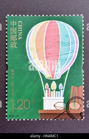 CHINA - CIRCA 2014: A stamp printed in China shows 2014-19 Teacher's Day. circa 2014. - Stock Photo