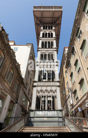 Lisbon, Portugal – July 1, 2013: Santa Justa Lift,  elevator i the historical city. View from the lower entrance - Stock Photo
