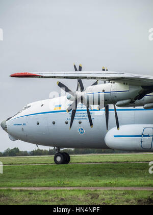 Kiev Region, Ukraine - September 25, 2008: Antonov An-22 turboprop cargo plane on the taxiway - Stock Photo