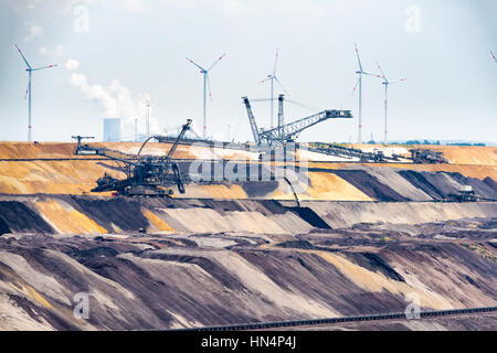 GARZWEILER, GERMANY - SEPTEMBER 01, 2016: Huge machines refill the opencast mine - Stock Photo