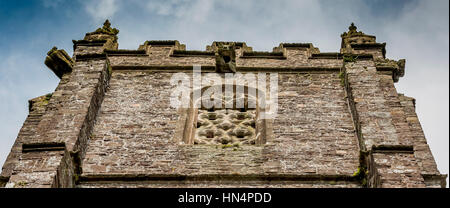St Mary Magdelene Church in South Molton architecture It has a crenelated  parapet with finials - Stock Photo