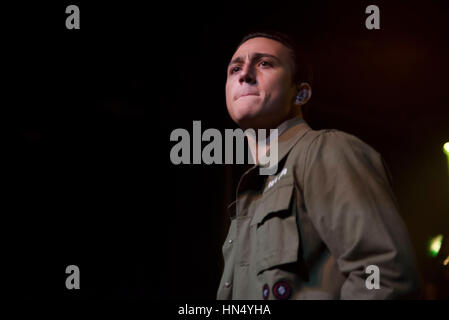 London, UK. 07th Feb, 2017. British singer Zak Abel performs on stage at London Scala. He has released two extended plays, entitled Joker presents Zak Abel and One Hand in the Future. Credit: Alberto Pezzali/Pacific Press/Alamy Live News