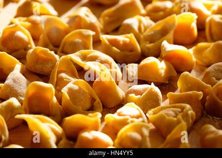 homemade tortellini, famous pasta in Bologna, Italy - Stock Photo