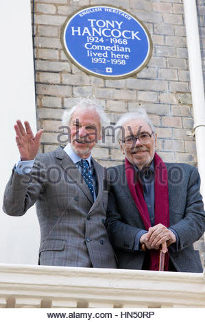 File photo dated 09/05/14 of Alan Simpson (right) and Ray Galton at the unveiling of an English Heritage blue plaque - Stock Photo