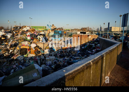 A large pile of rubbish mound at Mount Road Council run Landfill tip recycling dump in Gorton, Manchester, England, - Stock Photo