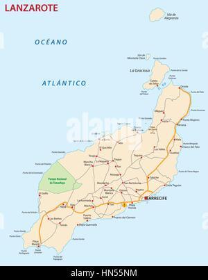 Vector road map of Canary Island La Gomera Stock Vector Art