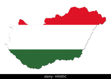 Hungarian National Flag And Map Isolated on White Background 3D illustration - Stock Photo